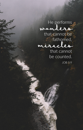 """He performs wonders that cannot be fathomed, miracles that cannot be counted."" Job 5:9 