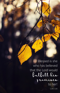"""Blessed is she who has believed that the Lord would fulfill His promises to her!"" Luke 1:45 