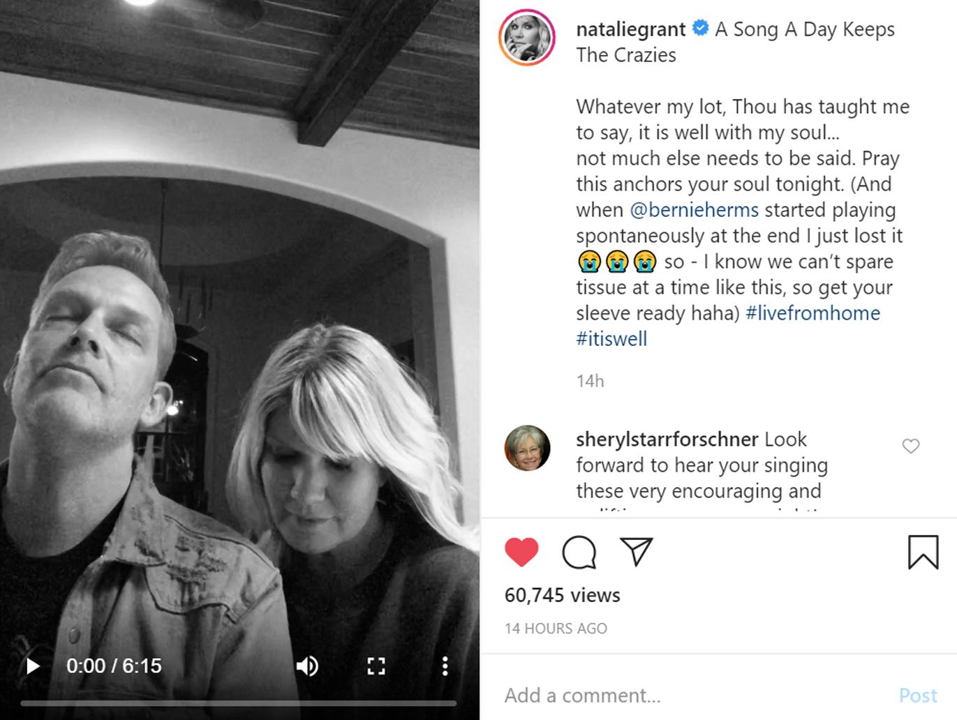 Natalie Grant Sings It Is Well on Instagram